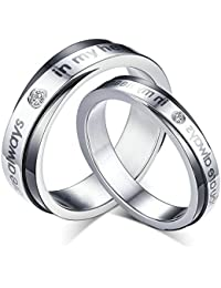 DOLOVE 2 Anillos de Boda de Acero Inoxidable con Grabado «You Are Always In My Heart», de Plata y Negro, con circonitas de 5 mm / 6 mm