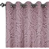Urban Hues Eyelet 1 Piece Polyester Jacquard Fabric Window, Door Curtain (7 Ft, Pink)