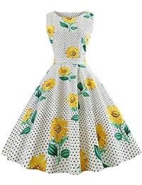 Oudan Vestito Estivo alla Moda da Donna Vestito Longuette Grazioso (Colore    Girasole 02175f85a29