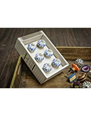Casa Décor Handmade Ceramic Drawer Pull Cabinet with Handle and Golden Frontal Stripes (White) - Set of 6