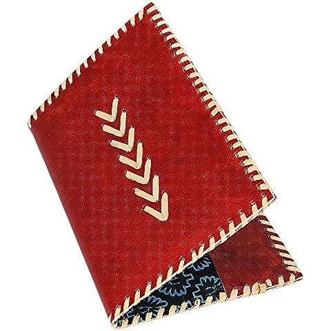 Store Indya, Porta passaporto in pelle rossa dell'organizzatore di corsa della borsa del raccoglitore Document Organizer