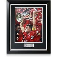Steven Gerrard firmado Liverpool Liga de Campeones de la foto, de lujo enmarcado (con