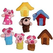 8pcs Marionetas Títeres de Dedos Cuento de Hadas de Tres Cerditos para Canción Infantil