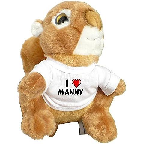 Ardilla personalizada de peluche (juguete) con Amo Manny en la camiseta (nombre de pila/apellido/apodo)