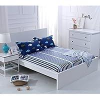 Alicemall Sábana Bajera de 100% Algodón Sábana Ajustable 90x190cm+30cm para Cama Individual Azul Oscuro con Rayas para Dormitorio