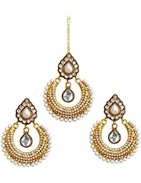 Dancing Girl Bridal Dulhan White Metal Alloy Pendant Set With Chain Jewellery Sets For Women