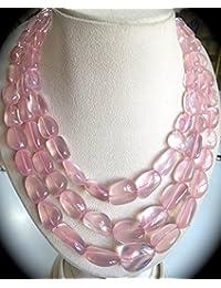 Natural ROSE QUARTZ Tumble Beads NECKLACE 18 INCHES 11-24MM