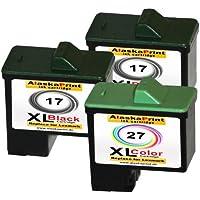 Premium Conjunto de 3 Cartuchos de Tinta Compatible con Lexmark 17 XL + 27 XL Para Lexmark X2230 X2250 X1180 X1185 X1190 X1250 X1270 X1290 X1196 Z614 Z615 Z617 Z640 Z645 Z717 Z13 Z23 Z517 Z25 Z33 Z34 Z35 Z503 X1130 X1140 X1150 X1155 X1160 X1170 X1100 X1110 2x17+1x27-lex