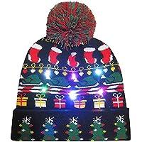 Cebbay Liquidación Gorro navideño Sombreros y Gorras Gorros de Punto Unisexo Regalo Sombrero de Invierno cálido con luz LED