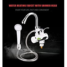Calentador de agua eléctrico para cocina y baño con pantalla LCD para mostrar temperatura grifo con alcachofa de ducha