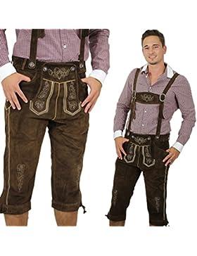 Kniebund Herren Lederhosen/ Trachtenhose in braun inklusive verstellbarer Hosenträger