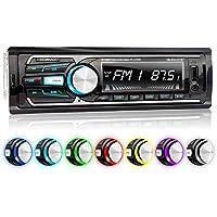 XOMAX XM-RSU257BT Autoradio DIN 1 (single DIN) Tamaño de montaje estándar + MOSFET + AUX-IN + 7 LED colores de iluminación + WMA + MP3 + sin discos CD + USB y SD (128 GB por Medio) + Bluetooth manos libres y música + ISO + antena de radio