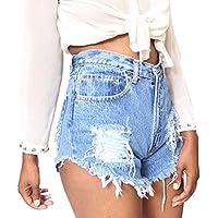 Mujeres Verano Pantalones Cortos, Color Sólido Shorts de Mezclilla Moda Cintura Alta Rasgados Shorts Casual Denim Shorts Jeans con Bolsillos