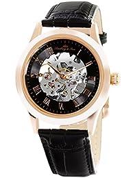 Lindberg & Sons CHP197 - Reloj análogico para hombre de pulsera (esqueleto automático), correa de cuero negra