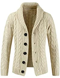 BUSIM Men's Long Sleeve Jacket Autumn Winter Lapel Fashion Zipper Casual Sweater Jacket Slim Sweater Top Warm...