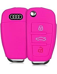 kwmobile Housse en silicone pour Audi clé pliante 3-touches housse étui de protection clés Key Case Cover en rose foncé