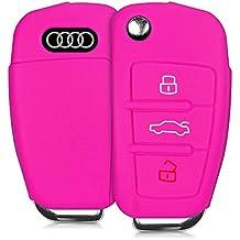 kwmobile Funda de silicona para llave plegable de 3 botones para coche - cover de llave - key case en rosa fucsia