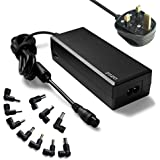 ZOZO™ 90W 15V 16V 18.5V 19V 19.5V 20V Automatic Voltage Select Universal AC Laptop Adapter Charger Power Supply PSU for Acer Asus Dell IBM Lenovo HP Compaq Toshiba Samsung Sony Fujitsu Gateway Notebook + UK Power Cord + USB 5V 2A for Android Phone IPhone