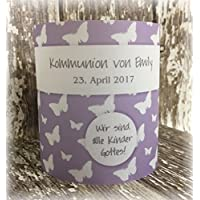 4er Set Tischlicht Tischlichter Kommunion Konfirmation Jugendweihe Taufe Schmetterlinge Deko Tischdeko personalisierbar flieder