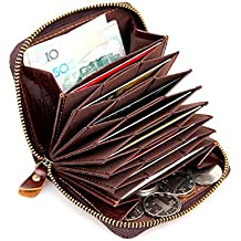 Artmi RFID Mens Leather Card Holder Accordian Style Credit Card Holder Compact Wallet