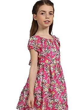 Tkiames Mädchen mit Rosen-Blumen Sommer Festlich Prinzessin Kinder Kleid Gr.104-128
