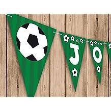 Guirnalda Mi Primera Comunión, Bautizo o Cumpleaños fútbol. Guirnalda decorativa. Banderines para fiestas
