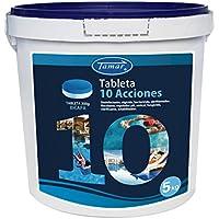 Tamar - Cloro 10 Acciones Bicapa, Tabletas Multifuncion de 200 grs, Bote de 5 Kilos