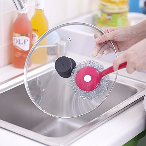 Frabble Creative Stainless Steel Kitchen Dish Cleaning Steel Wool (Pack Of 2) Utensils Cleaning Scrubber , Scouring Pad Or Cleaning Brush With Long Handle, Detachable Scrub ,Makes Cleaning Easy , Cleans Pans , Utensils , Gas-oven , Pressure Cooker , Steel