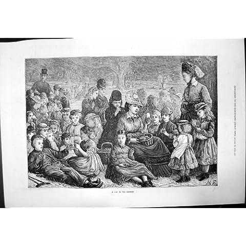 Giorno nei Grandi Bambini degli Adulti del Gruppo del Paese che Bevono Mangiando 1872 - I Bambini Bevono