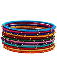 Blue Jays Hub Silk Thread And Metal Bangles Set Of 12 And 12 Colors