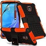 (Orange) Motorola Nexus 6 Hülle Abdeckung Cover Case schutzhülle Tasche Perfect Fit Tough Survivor Hart Rugged Shock Proof Heavy Duty Case W / Back Ständer, LCD-Display Schutzfolie, Reinigungstuch & Mini Retractable Stylus Pen von Spyrox