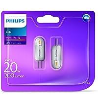 Philips LED 2W (20W) G4capsula lampadina, luce bianca calda, confezione da 2, G4, 2W, confezione da 2