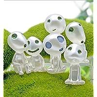 Go_creen - Figura decorativa para jardín en miniatura, diseño de princesa mononoque luminoso de resina con elfos