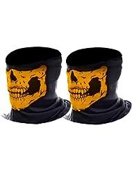 eBoot Máscara de Calavera Bufanda Multiuso de Motocicleta Sombreros de Balaclava Bragas de Cuello, 2 Piezas (Naranja)