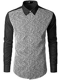 BUSIM Men's Long Sleeve Shirt Autumn Casual Lace Panel Round Neck Spot Print Solid Color Slim Fashion T-Shirt...