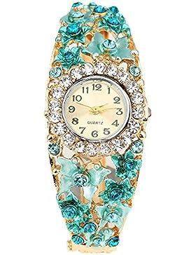 suberde Damen Strass Blume Schmetterling Armbanduhr–Blau