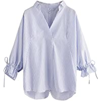 Camisa A Rayas De Las Mujeres, LILICAT Blusas Otoño Manga 3/4 Cuello en V Anchas (Azul, XL)