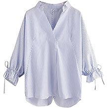 Camisa A Rayas De Las Mujeres, LILICAT Blusas Otoño Manga 3/4 Cuello en