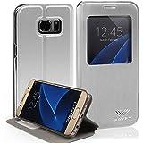 Housse Samsung Galaxy S7 Edge, SAVFY® Etui de Protection à rabat Pour Samsung Galaxy S7 Edge (Silver)
