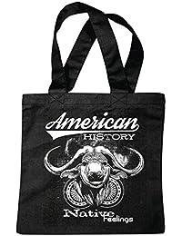 """Bolsillo Bolso Bolsa """"HISTORIA DE AMÉRICA LATINA BUFFALO EE.UU. NEW YORK Buffalo cuernos de Bull INDIAN vaquero occidental"""" Bolsa de deporte Bolsas de Negro"""