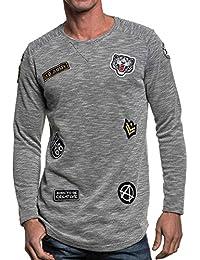 Gov Denim - Sweat homme gris oversize fashion à patchs