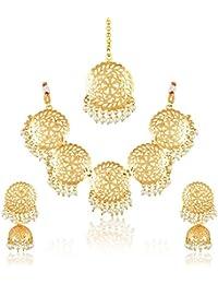 Meenaz Fashion Jewellery Gold Plated Kundan Traditional Necklace Set For Women Party Wear Wedding Wear Maang Tikka...