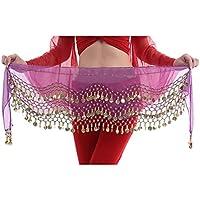 Hee Grand 3filas danza del vientre baile Hip bufanda falda cinturón con 128monedas