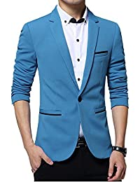 Gopune Men s Slim Fit Casual One Button Suits Coat Solid Blazer Business  Jacket e930cf37235