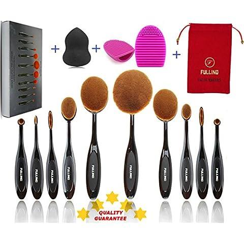 Brochas de Maquillaje Profesional 10 + 3 FULLINO Cepillos Ovales de Maquillaje, Set 10 Pinceles. Características en Polvo, Corrector, Contorno, Base, Fusión, Delineador de Ojos y Cepillos las cejas - Huevo cepillo de limpieza - Beautyblender Esponja - Fundación Cepillos Crema Contorno Powder Blush Corrector cepillo del maquillaje de los cosméticos del sistema de herramienta - FULLINO