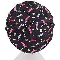 [Patrocinado]Dilly's Collections - Gorra de baño, microfibra de lujo, ultra protectora para adulto/adolescente, diseño de perros, Large