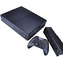 Pandaren® completos placas frontales Pegatinas de la piel para la consola Xbox One x 1 y el mando x 2 y kinect x 1(Las partículas de carbono negro)