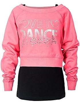 Girls Dance felpe gilet a doppio strato tops diamante Love to Dance argento Sparkle logo palestra allenamento...