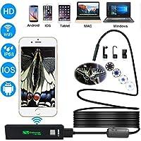 Wireless Cámara Endoscópica Inalámbrico WiFi Digital Boroscopio Endoscopio Camara de Inspeccion de 2.0 Megapixeles CMOS 1200P HD Camara de la Serpiente 8 LED para Andorid y IOS Smartphone, iPhone, Tablet -(10 Metro)