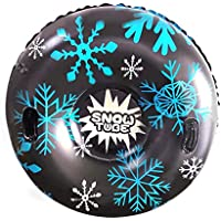 Tubo de esquí inflable con manija - Trineo de nieve inflable Super Big de 47 pulgadas para niños y adultos - Tubo de nieve inflable de alta resistencia fabricado con material espesante de 0.6 mm